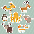 Cartoon animal stickers Royalty Free Stock Photography