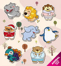 Cartoon animal Stickers icons Stock Photo