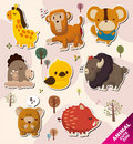 Cartoon animal Stickers icons Stock Images