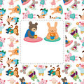 Cartoon animal tea time card Stock Photo