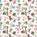 Cartoon animal tea time seamless pattern Royalty Free Stock Photo