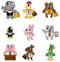 Cartoon animal worker icon Royalty Free Stock Image