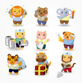 Cartoon animal worker icon set Royalty Free Stock Photos