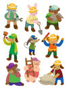 Cartoon animal worker icons Royalty Free Stock Photography