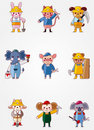 Cartoon animal worker icons Stock Images
