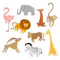 Cartoon animals collection of cute cartoons of various african Royalty Free Stock Photography