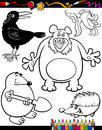 Cartoon animals for coloring book or page illustration set of black and white mascot characters children Royalty Free Stock Images