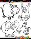 Cartoon animals for coloring book or page illustration set of black and white wild mascot characters children Royalty Free Stock Photo