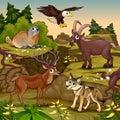 Cartoon animals, deer, eagle, groundhog, steinbock Royalty Free Stock Photo