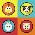 Cartoon Animals Farm Flat Icon Vector