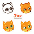 Cartoon Animals Head Icon Vector. Cartoon Fox Faces Vector Set. Different Style Illustrations.
