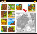 Cartoon animals jigsaw puzzle game illustration of education for preschool children with funny wild forest group Royalty Free Stock Images