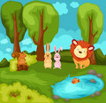Cartoon animals in the jungle Royalty Free Stock Photo