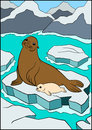 Cartoon animals. Mother fur seal with her cute white-coat baby.