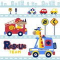 Cartoon of animals rescue team in the city with vehicles
