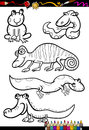 Cartoon animals set for coloring book or page illustration of black and white reptiles and amphibian characters children Royalty Free Stock Image