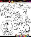 Cartoon animals set for coloring book or page illustration of black and white wild characters children Royalty Free Stock Image