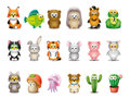 Cartoon animals set little and animated beings Royalty Free Stock Photos