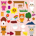 Cartoon animals and tea party icons Royalty Free Stock Photo