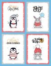 Cartoon Animals in Warm Cloth, Christmas Cards