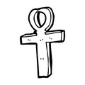 Cartoon ankh symbol black and white line in retro style vector available Royalty Free Stock Photography