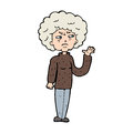 Cartoon annoyed old woman waving hand drawn illustration in retro style vector available Royalty Free Stock Images