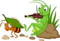 Cartoon the ant and the grasshopper Royalty Free Stock Photo