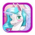 Cartoon app icon with cute unicorn face.