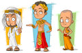 Cartoon arabian egyptian and asian boy character vector set