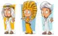 Cartoon arabian and egyptian young character vector set