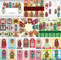 Cartoon Arabian peopl card Stock Photos