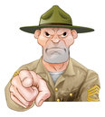 Cartoon army drill sergeant pointing Royalty Free Stock Photo