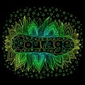 Cartoon art with mandala and courage gradient word. Doodle lette