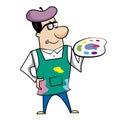 Cartoon artist paint palette vector illustration Stock Photos