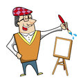 Cartoon artist with paintbrush and canvas easel vector illustration Stock Photography