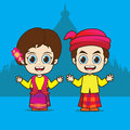 Cartoon asean myanmar eps vector Royalty Free Stock Photos