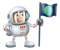 Cartoon astronaut an illustration of a cute planting an earth flag Royalty Free Stock Photos