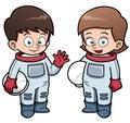 Cartoon astronaut kids