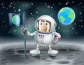 Cartoon astronaut on the moon an illustration of a cute planting a flag with planet earth in background Royalty Free Stock Photo