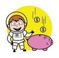 Cartoon Astronaut saving money in piggy bank Royalty Free Stock Photo