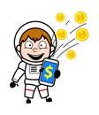 Cartoon Astronaut showing Mobile Money Royalty Free Stock Photo