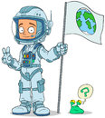 Cartoon astronaut in space suit characters set