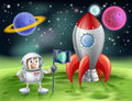 Cartoon astronaut and vintage rocket an illustration of an outer space background with a cute planting a flag of earth on an alien Royalty Free Stock Images