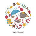 Cartoon autumn elements