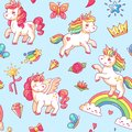 Cartoon babe pony sketch cute background. Miracle sweet dreams with magic unicorn, clouds and rainbow vector seamless