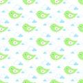 Cartoon baby birds fly in gentle light green tones in the clouds
