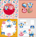 Cartoon baby card Stock Images