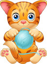 Cartoon Baby Cat Playing With ...