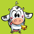 Cartoon baby cow with a big cowbell having its tongue out of mouth Royalty Free Stock Images