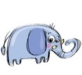 Cartoon baby elephant in a naif childish drawing style with big ears Stock Photo